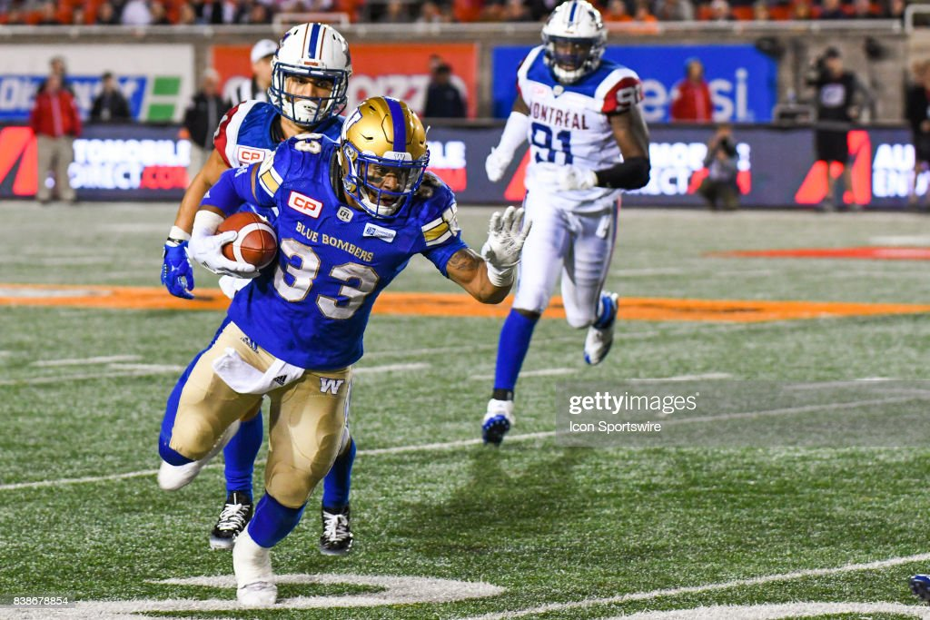 CFL: AUG 24 Winnipeg Blue Bombers at Montreal Alouettes : News Photo