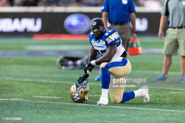 Winnipeg Blue Bombers running back Johnny Augustine during warm-up before Canadian Football League action between the Winnipeg Blue Bombers and...