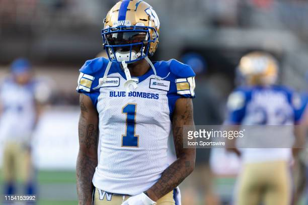 Winnipeg Blue Bombers wide receiver Darvin Adams during warm-up before Canadian Football League action between the Winnipeg Blue Bombers and Ottawa...