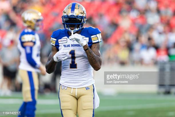 Winnipeg Blue Bombers wide receiver Darvin Adams moves into position during Canadian Football League action between the Winnipeg Blue Bombers and...