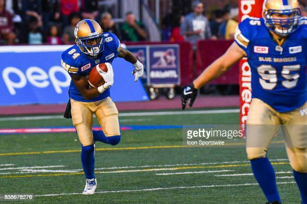 Winnipeg Blue Bombers wide receiver Ryan Lankford running with the ball during the Winnipeg Blue Bombers versus the Montreal Alouettes game on August...