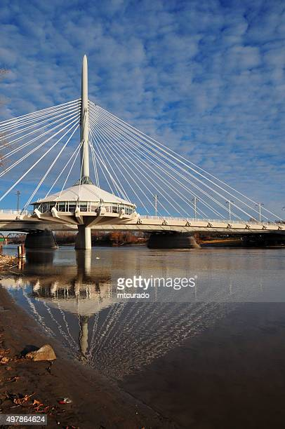 winnipeg, canada, red river and esplanade riel bridge - esplanade riel stock photos and pictures