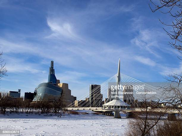 winnipeg in winter - esplanade riel stock photos and pictures