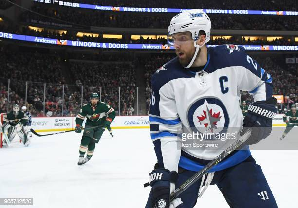 Winnipeg Jets Center Blake Wheeler follows the play during a NHL game between the Minnesota Wild and Winnipeg Jets on January 13 2018 at Xcel Energy...