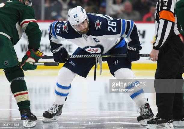 Winnipeg Jets Center Blake Wheeler lines up for a faceoff during a NHL game between the Minnesota Wild and Winnipeg Jets on January 13 2018 at Xcel...