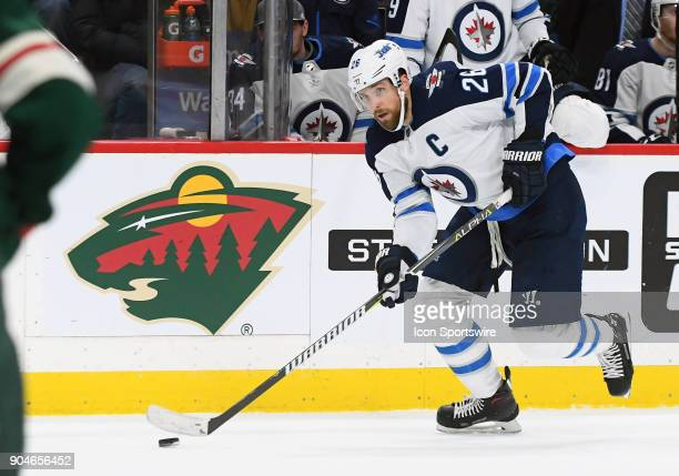Winnipeg Jets Center Blake Wheeler skates with the puck during a NHL game between the Minnesota Wild and Winnipeg Jets on January 13 2018 at Xcel...