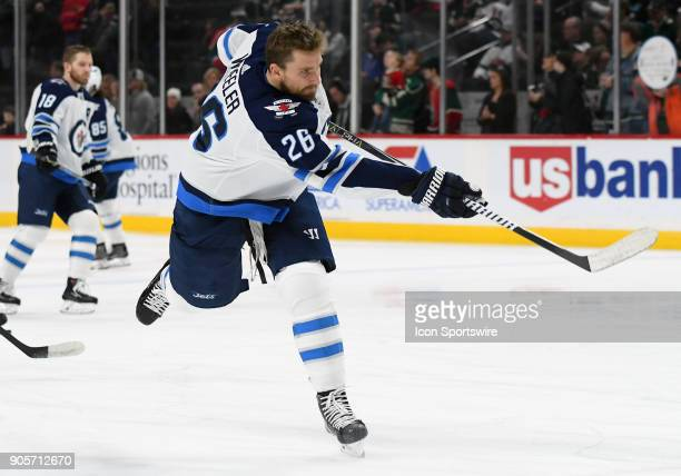 Winnipeg Jets Center Blake Wheeler warms up before a NHL game between the Minnesota Wild and Winnipeg Jets on January 13 2018 at Xcel Energy Center...