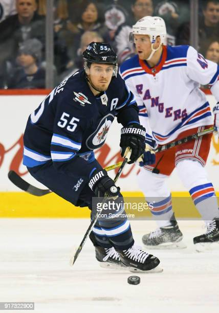 Winnipeg Jets Center Mark Scheifele chases the puck during a NHL game between the Winnipeg Jets and New York Rangers on February 11 2018 at Bell MTS...