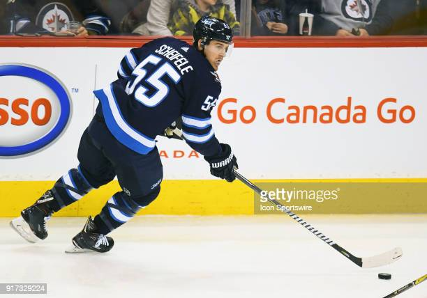 Winnipeg Jets Center Mark Scheifele skates with the puck during a NHL game between the Winnipeg Jets and New York Rangers on February 11 2018 at Bell...