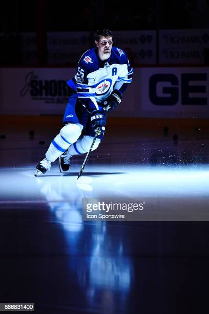 Winnipeg Jets Center Mark Scheifele takes the ice for warms up before the game between the Pittsburgh Penguins and the Winnipeg Jets on October 26 at...