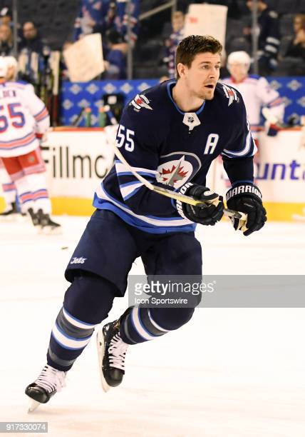 Winnipeg Jets Center Mark Scheifele warms up before a NHL game between the Winnipeg Jets and New York Rangers on February 11 2018 at Bell MTS Centre...