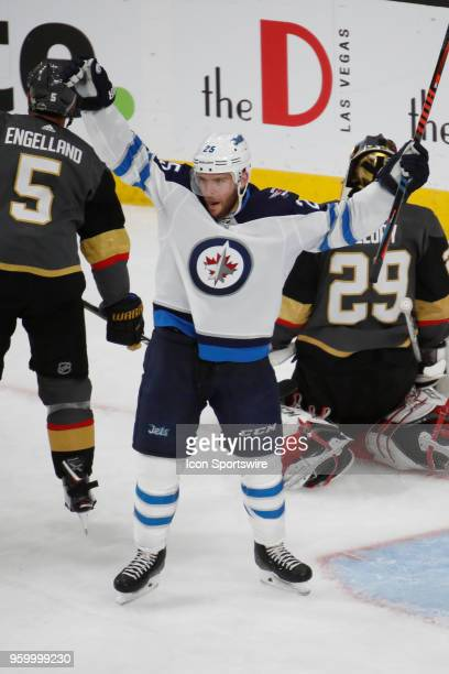 Winnipeg Jets center Paul Stastny celebrates after a goal by Winnipeg Jets right wing Patrik Laine during Game Four of the Western Conference Finals...