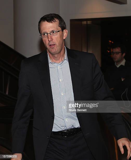 Winnipeg Jets Chair Mark Chipman arrives to take part in the negotiation session with the National Hockey League Players Association at the Westin...