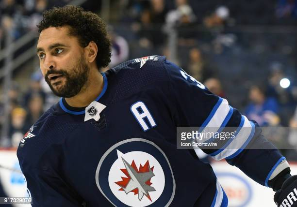 Winnipeg Jets Defenceman Dustin Byfuglien warms up before a NHL game between the Winnipeg Jets and New York Rangers on February 11 2018 at Bell MTS...