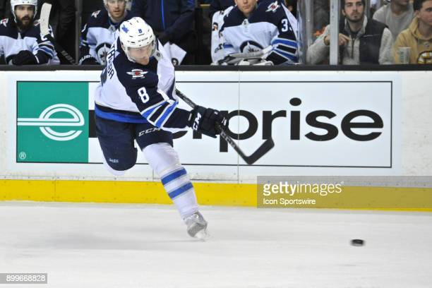 Winnipeg Jets Defenceman Jacob Trouba fires a rocket of a shot on net During the Winnipeg Jets game against the Boston Bruins on December 21 2017 at...