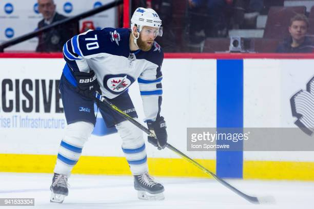 Winnipeg Jets Defenceman Joe Morrow prepares for a faceoff during third period National Hockey League action between the Winnipeg Jets and Ottawa...