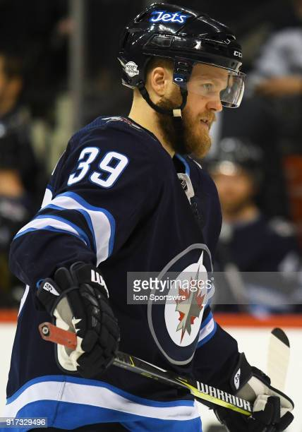 Winnipeg Jets Defenceman Toby Enstrom looks on during a NHL game between the Winnipeg Jets and New York Rangers on February 11 2018 at Bell MTS...