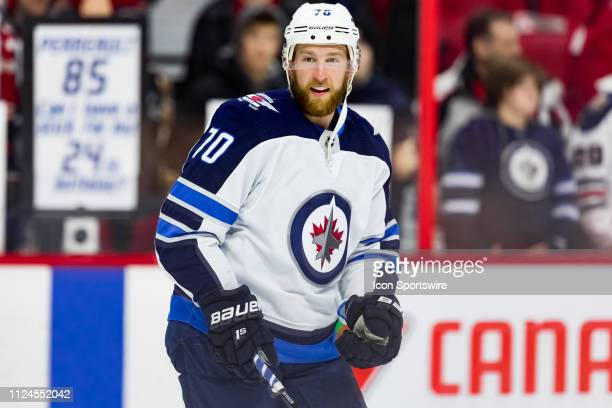 Winnipeg Jets defenseman Joe Morrow during warmup before National Hockey League action between the Winnipeg Jets and Ottawa Senators on February 9 at...