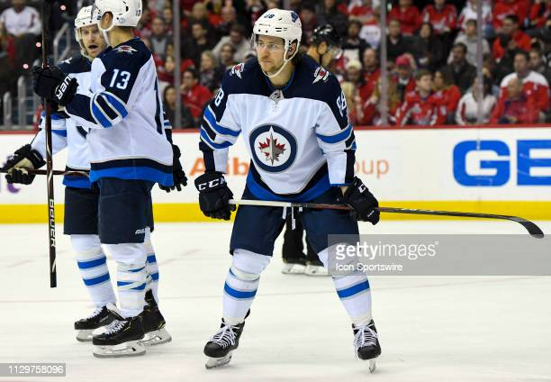 Winnipeg Jets defenseman Nathan Beaulieu perpares for a first period face off against the Washington Capitals on March 10 at the Capital One Arena in...
