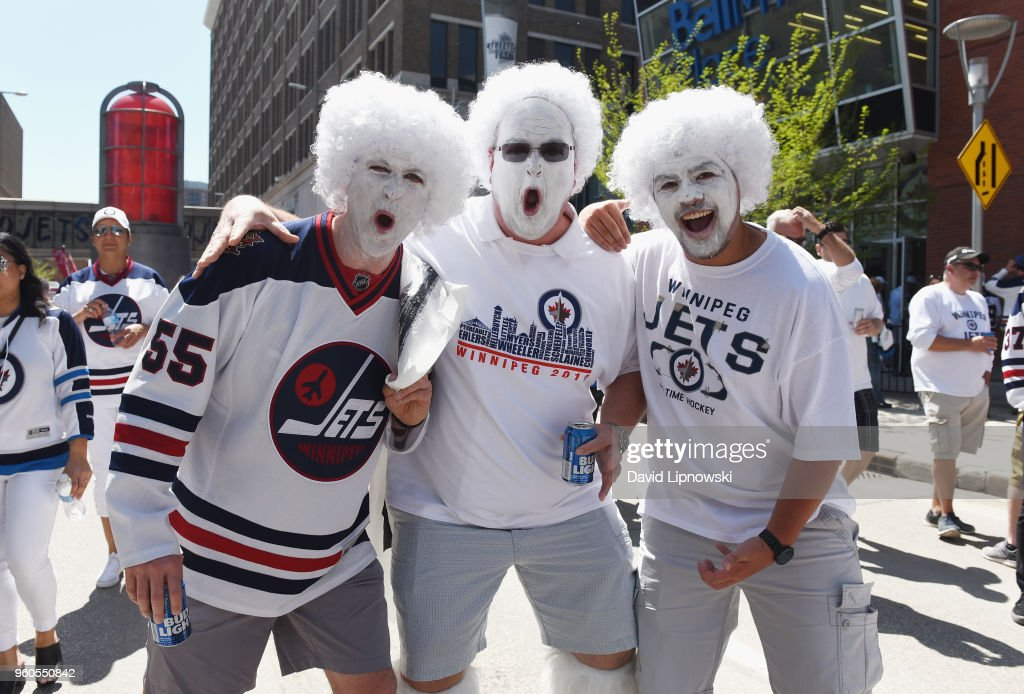 Winnipeg Jets fans pose prior to Game Five of the Western Conference Finals between the Vegas Golden Knights and the Winnipeg Jets during the 2018 NHL Stanley Cup Playoffs at Bell MTS Place on May 20, 2018 in Winnipeg, Canada.