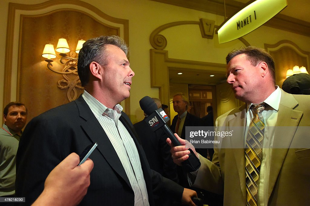 Winnipeg Jets general manager Kevin Cheveldayoff meets with the media following the NHL general managers meetings at the Bellagio Las Vegas on June 23, 2015 in Las Vegas, Nevada.