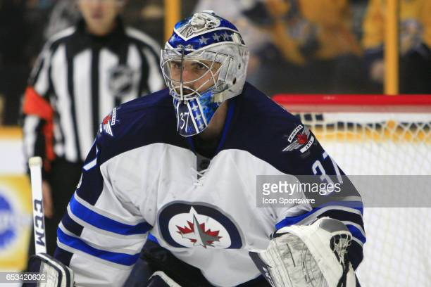 Winnipeg Jets goalie Connor Hellebuyck is shown during the NHL game between the Nashville Predators and the Winnipeg Jets held on March 13 at...