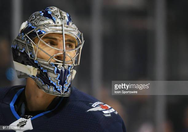 Winnipeg Jets Goalie Connor Hellebuyck looks on during a NHL game between the Winnipeg Jets and New York Rangers on February 11 2018 at Bell MTS...