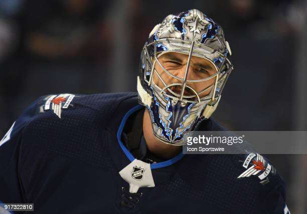 Winnipeg Jets Goalie Connor Hellebuyck makes a funny face during a NHL game between the Winnipeg Jets and New York Rangers on February 11 2018 at...