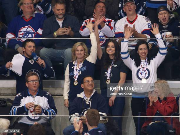 Winnipeg Jets InGame Host Brody Jackson interviews 2018 World Women's Curling Champions Jennifer Jones Shannon Birchard and Jill Officer during a...