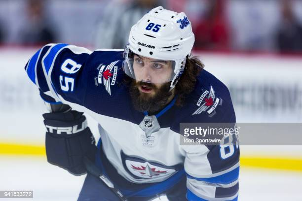Winnipeg Jets Left Wing Mathieu Perreault prepares for a faceoff during third period National Hockey League action between the Winnipeg Jets and...