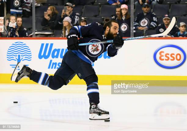 Winnipeg Jets Left Wing Mathieu Perreault warms up before a NHL game between the Winnipeg Jets and New York Rangers on February 11 2018 at Bell MTS...