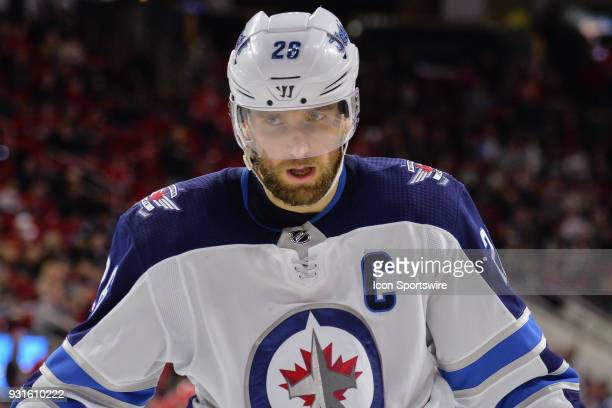 Winnipeg Jets Right Wing Blake Wheeler skates to the locker room between periods during a game between the Winnipeg Jets and the Carolina Hurricanes...