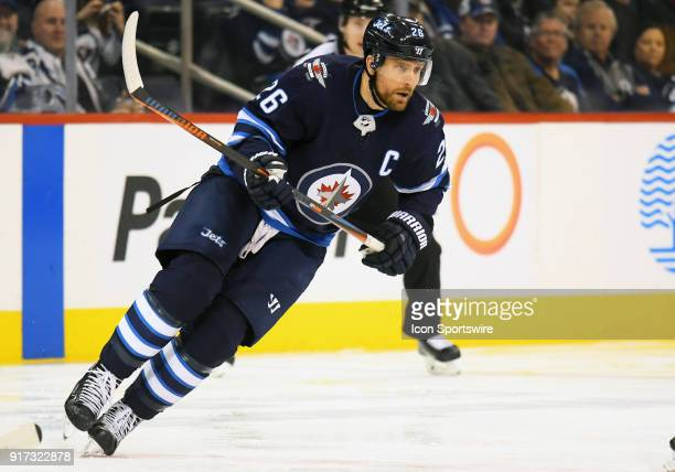 Winnipeg Jets Right Wing Blake Wheeler skates up ice during a NHL game between the Winnipeg Jets and New York Rangers on February 11 2018 at Bell MTS...