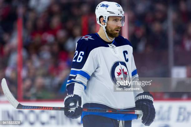 Winnipeg Jets Right Wing Blake Wheeler waits for a faceoff during third period National Hockey League action between the Winnipeg Jets and Ottawa...