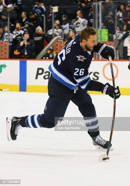 Winnipeg Jets Right Wing Blake Wheeler warms up before a NHL game between the Winnipeg Jets and New York Rangers on February 11 2018 at Bell MTS...