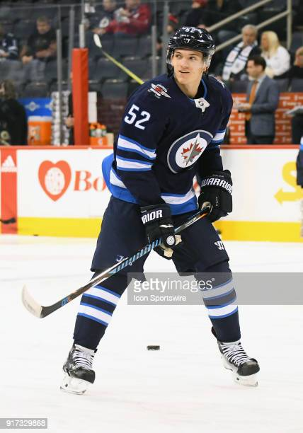 Winnipeg Jets Right Wing Jack Roslovic warms up before a NHL game between the Winnipeg Jets and New York Rangers on February 11 2018 at Bell MTS...