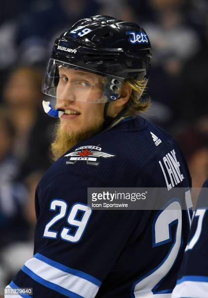 Winnipeg Jets Right Wing Patrik Laine looks on during a NHL game between the Winnipeg Jets and New York Rangers on February 11 2018 at Bell MTS...