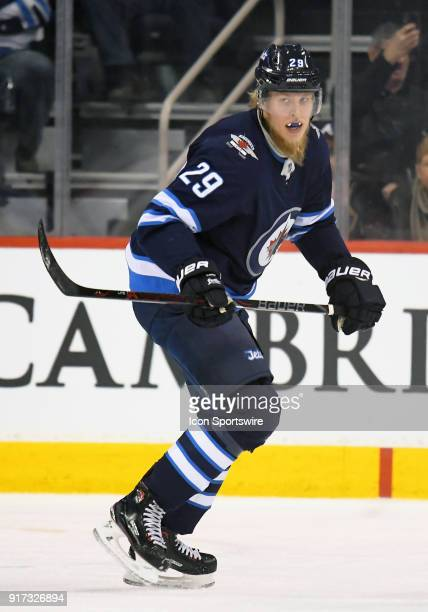 Winnipeg Jets Right Wing Patrik Laine skates up ice during a NHL game between the Winnipeg Jets and New York Rangers on February 11 2018 at Bell MTS...