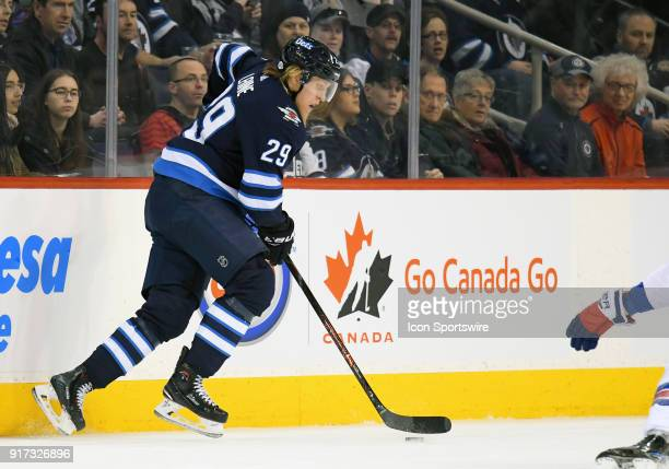 Winnipeg Jets Right Wing Patrik Laine skates with the puck during a NHL game between the Winnipeg Jets and New York Rangers on February 11 2018 at...