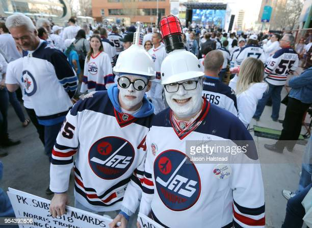 Winnipeg Jets Rob McFaddin and Del Pannu enjoy the 'whiteout' before the Winnipeg Jets took on the Nashville Predators in Game Four of the Western...