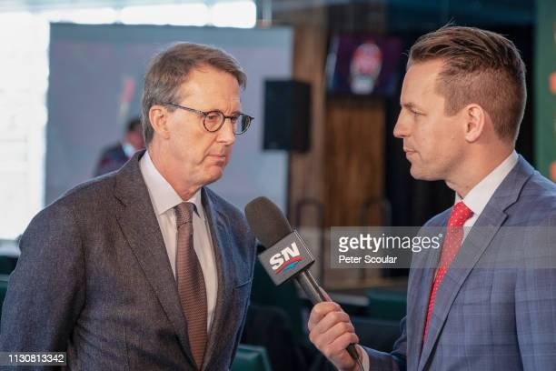 Winnipeg Jets/True North Sports Entertainment Executive Chairman Mark Chipman answers questions from Sportsnet Reporter Sean Reynolds following the...