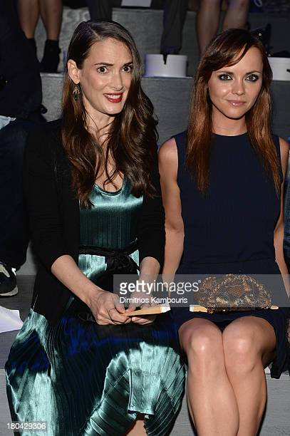 Winona Ryder and Christina Ricci attend the Marc Jacobs Spring 2014 fashion show at The New York State Armory, 68 Lexington on September 12, 2013 in...