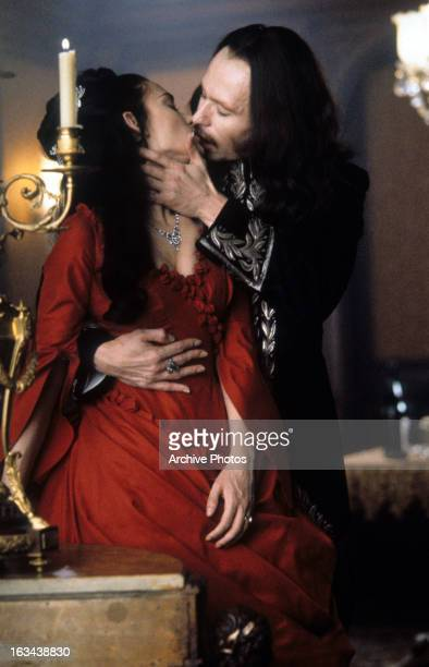Winona Ryder and Gary Oldman kiss in a scene from the film 'Dracula' 1992