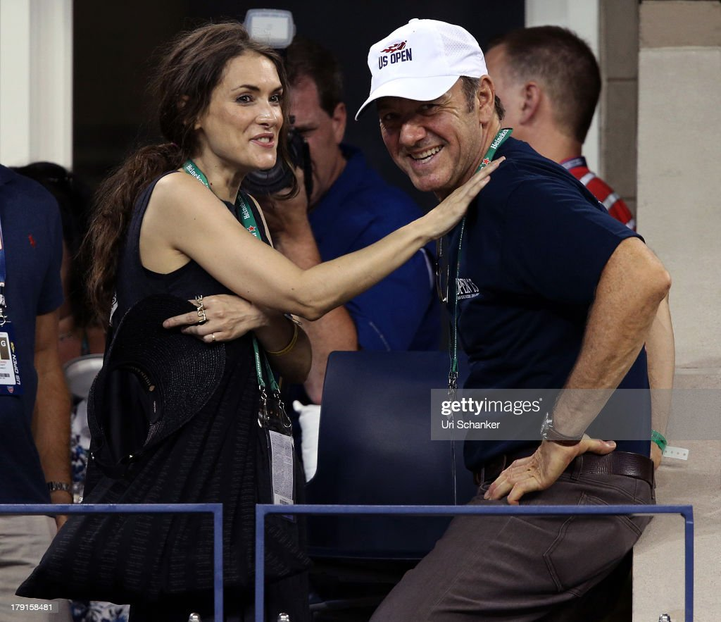 Winona Ryder and Kevin Spacey attend the 2013 US Open at USTA Billie Jean King National Tennis Center on August 31, 2013 in New York City.