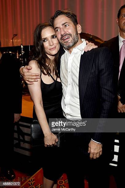 Winona Ryder and Marc Jacobs attend the Marc Jacobs Spring 2016 fashion show during New York Fashion Week at Ziegfeld Theater on September 17 2015 in...