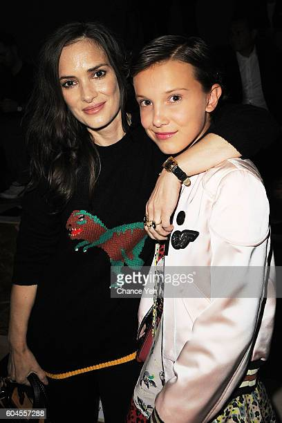 Winona Ryder and Millie Bobby Brown attends the Coach 1941 Women's Spring 2017 Show at Pier 76 on September 13 2016 in New York City