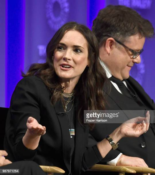 Winona Ryder and Sean Astin speak onstage at The Paley Center for Media's 35th Annual PaleyFest Los Angeles 'Stranger Things' at Dolby Theatre on...