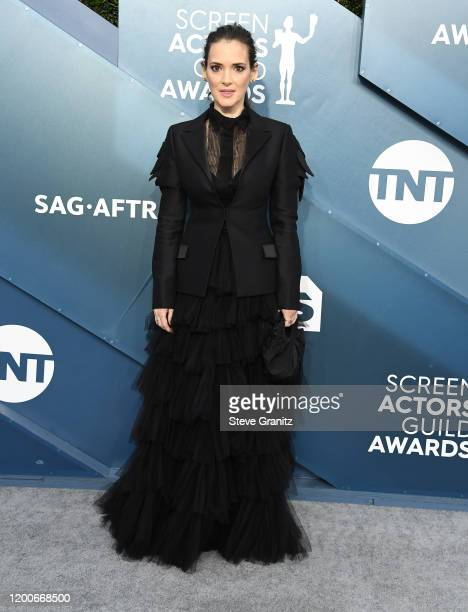 Winona Ryder arrives at the 26th Annual Screen Actors Guild Awards at The Shrine Auditorium on January 19 2020 in Los Angeles California