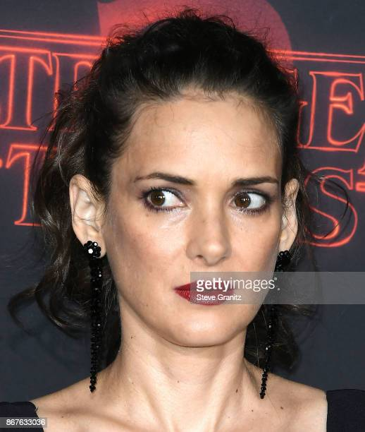 Winona Ryder arrives at the Premiere Of Netflix's 'Stranger Things' Season 2 at Regency Bruin Theatre on October 26 2017 in Los Angeles California