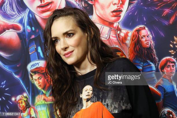 "Winona Ryder attends a photocall for Netflix's ""Stranger Things"" Season 3 at Linwood Dunn Theater at the Pickford Center for Motion Study on November..."